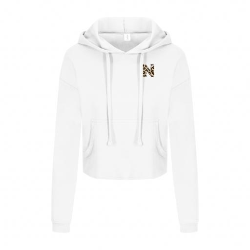 Cropped Hoodie - Arctic White with Letter