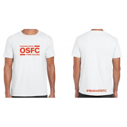 Oldham Sixth Form College T-Shirt - Design 1 with Orange Print